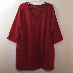 Plus Size Red A-Line Tunic Top Pockets